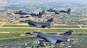 51st Fighter Wing - Two Fairchild Republic A-10A Thunderbolt IIs from the 25th Fighter Squadron and two F-16 Fighting Falcons from the 36th Fighter Squadron fly over Osan AB in formation, 2010