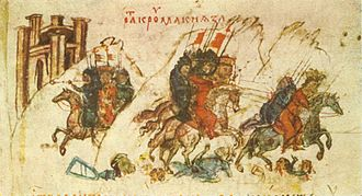 First Bulgarian Empire - Khan Krum defeats the Byzantine Emperor Nicephorus I in the battle of the Varbitsa Pass, Manasses Chronicle