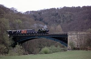 Severn Valley Railway - GWR 5700 Class Pannier tank 5764 crossing the Victoria Bridge.