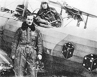 90th Aero Squadron - 90th Aero Squadron - Capt. W. G. Schauffler - Standing Lt. Fred Tillman - Seated in a Salmson 2A2, Bethelainville Aerodrome, France, 11 November 1918