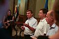 A.Ansips, V.Dombrovskis un A.Kubiļus Rīgas biržas namā tiekas ar mediju pārstāvjiem (6088027365).jpg