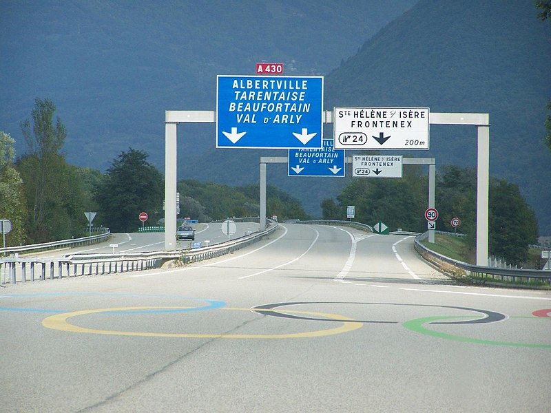 French A430 motorway to Albertville in Savoie, host of the Winter Olympic Games of 1992.