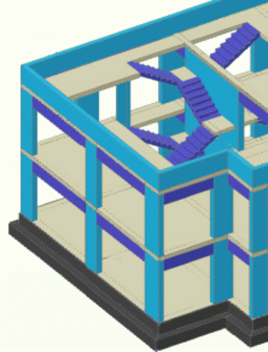Advance Concrete - Building with two floors, with stairs, modeled in Advance Concrete.