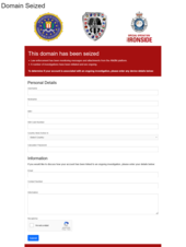 displays FBI and AFP graphics, a 'Trojan Shield' graphic and a 'This domain has been seized' notice, with a form inviting visitors 'To determine if your account is associated with an ongoing investigation, please enter any device details below'