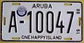 ARUBA 1988 -LICENSE PLATE WITH QUARTER 3 STICKER )JUL-SEP 1988) PLATE ^ A-10047 pic 1 - Flickr - woody1778a.jpg