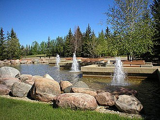 Athabasca University - Water fountains at the main campus at Athabasca, Alberta.