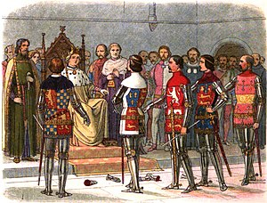 Thomas de Mowbray, 1st Duke of Norfolk - Depiction of Mowbray, Arundel, Gloucester, Derby and Warwick demanding of Richard II that he let them prove by arms the justice of their rebellion. From the left of the painting, Mowbray is the third man standing.
