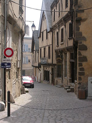 Laval, Mayenne - A street in the medieval centre.