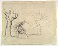 A Man Reading in a Garden (recto); Preliminary sketch for a Man Reading in a Garden (verso) MET DP818919.jpg