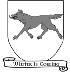 A Song of Ice and Fire arms of House Stark running direwolf white scroll.png