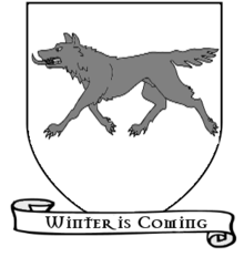 A coat of arms showing a gray wolf on a white field.