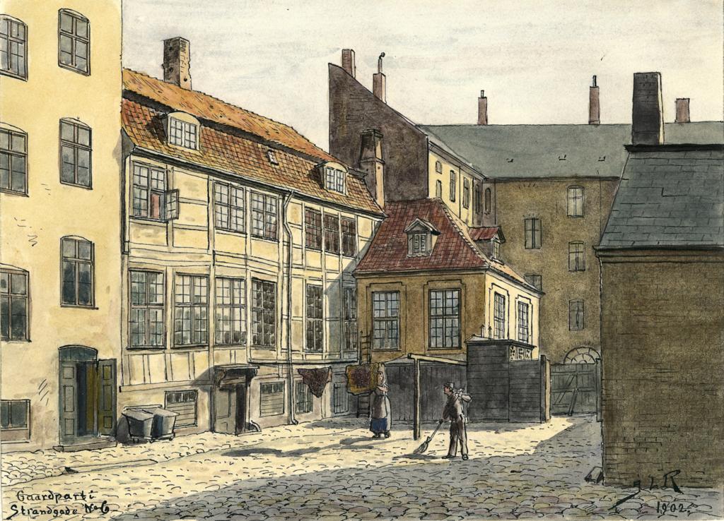 Cour arrière dans le quartier de Christianshavn vers 1900. tableau de J. L. Ridter.