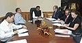A delegation from U.K. led by the Secretary of State, U.K., Mr. Edward Jonathaon Davey calling on the Minister of State (Independent Charge) for Petroleum and Natural Gas, Shri Dharmendra Pradhan, in New Delhi.jpg