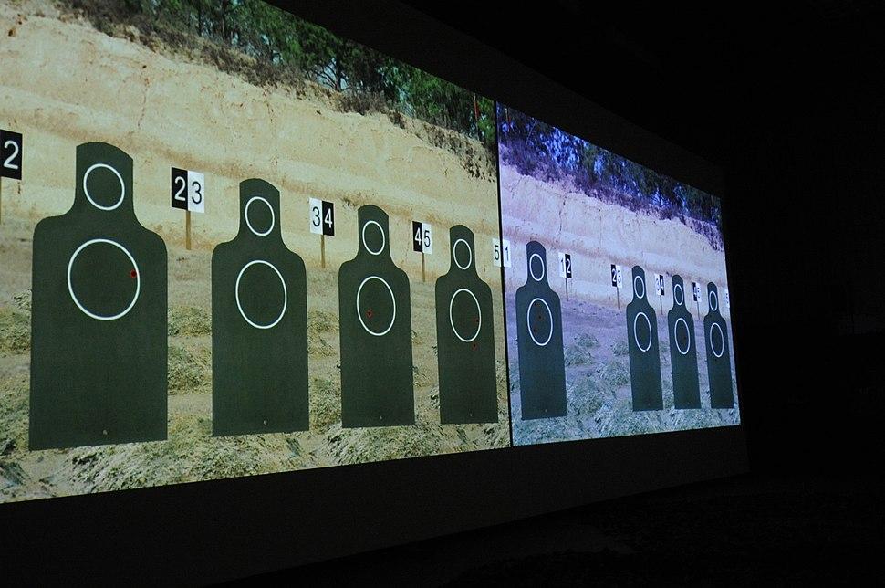 A digital target range at the firearms training simulator on Kunsan Air Base waits to be used