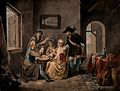 A family playing a game of cards on a drum; one man is weari Wellcome V0040569.jpg