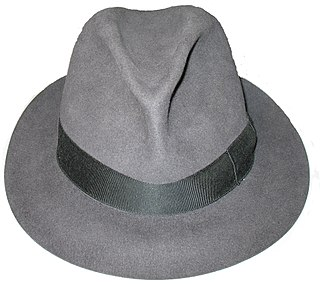 Fedora wide brimmed felt hat with a pinched crown