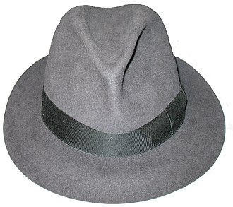 Fedora - A fedora made by Borsalino, with a pinch-front teardrop-shaped crown