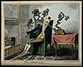 A man suffering from headache in the form of devils. Coloure Wellcome V0010876.jpg