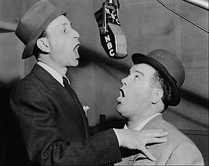 The Abbott and Costello Show (radio program) - Bud Abbott and Lou Costello in the NBC radio studios in 1942.
