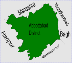 Bakot is in Abbottabad district, the names of the neighbouring districts to Abbottabad are also shown