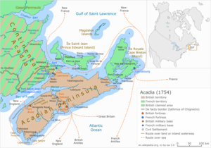 "Nova Scotia peninsula - The ""Acadian Peninsula"" in this 1754 map of Acadia refers to the present-day Nova Scotia peninsula.  This territory came under British control in 1713."