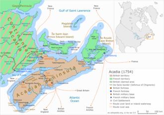 Ile Saint-Jean Campaign - Image: Acadia 1754