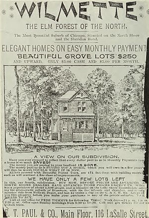 Wilmette, Illinois - Advertisement for an early subdivision in WIlmette