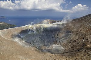 Outline of Italy - Crater on Vulcano Island