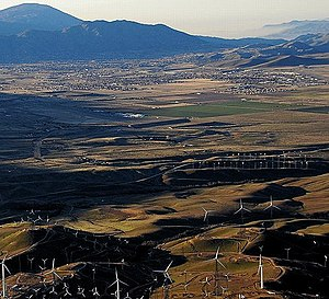 Tehachapi, California - Small portion of wind farms with Tehachapi in the distance