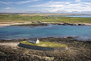 Aerial View of St Cwyfan's Church.jpg