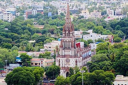 Aerial view of Our Lourdes church in Tiruchirapalli 2.jpg