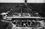 Aft view of USS Lake Champlain (CVA-39) in 1953