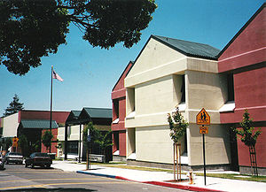 The front of Albany Middle School at its locat...