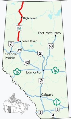 Alberta Highway 35 - Image: Alberta Highway 35 Map
