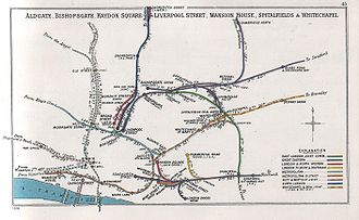 East London line extension - 1906 diagram showing the former connection of the East London Line to Liverpool Street