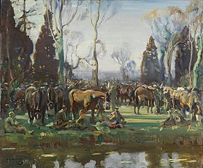 HALT ON THE MARCH BY A STREAM AT NESLE