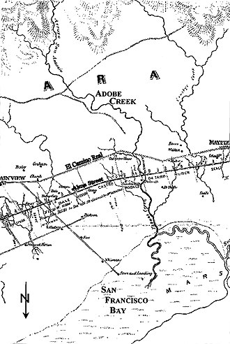 Matadero Creek - 1862 George F. Allardt Map of the San Francisco and San Jose Railroad - note that Matadero Creek (then Crosby's Creek) is featured in the upper right portion of the map and appears to end in or near the Baylands marshes. The historical presence of steelhead trout in the creek indicates that it was at least intermittently connected to San Francisco Bay during spawning runs in periods of high winter flows.