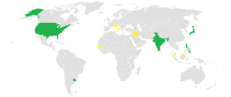 Alliance of Democrats (political international) - Member parties who lead the government coalition are in green. Countries with member parties who are part of the government coalition, but do not lead it, are in yellow (as of June 2012).