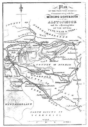 Thomas Sopwith (geologist) - Map from Sopwith's An account of the mining districts of Alston Moor, Weardale and Teesdale in Cumberland and Durham (1833)