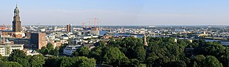 Neustadt, Hamburg - Skyline of the southern Neustadt: the tower of St. Michaelis (Michel), and view across Elbe and Port; visible in the background are construction cranes in HafenCity.