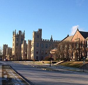 Northern Illinois University - Altgeld Hall and Still Hall along College Avenue. Altgeld Hall was the first building to be constructed on campus.