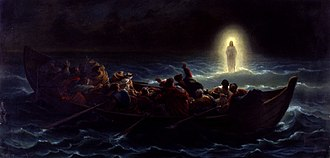Jesus walking on water - Christ walking on the sea, by Amédée Varint