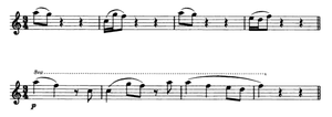 String Quartet No. 12 (Dvořák) - Dvořák's transcription of the song of the scarlet tanager (top) and the appearance of the song in the third movement of the quartet.