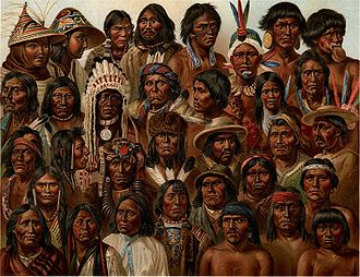 Painting of various ethnic groups from the Americas, early 20th century.
