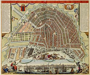 Walls of Amsterdam - The 17th-century walls with 26 bastions can be seen on this city map by  Frederik de Wit