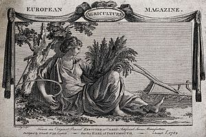 Eleanor Coade - An allegory of agriculture: Ceres reclining amidst a collection of farm implements, she holds a sheaf of wheat and a scythe. Engraving by W. Bromley, 1789, after a sculptural panel by Mrs E. Coade.