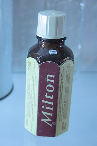 Milton sterilizing fluid - An inter-war bottle of Milton's Fluid, Hunterian Museum, Glasgow