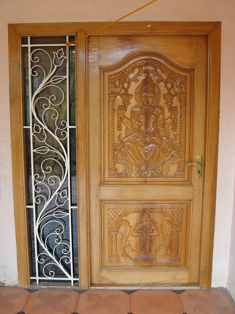 File an ornamental door in tamil wikimedia commons Wooden main door designs in india
