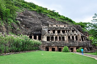 History of Andhra Pradesh - One of the Undavalli Caves, built in the 7th century CE by the Vishnukundina dynasty.