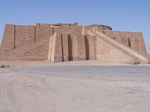 Ziggurat - The reconstructed facade of the Neo-Sumerian Ziggurat of Ur, near Nasiriyah, Iraq